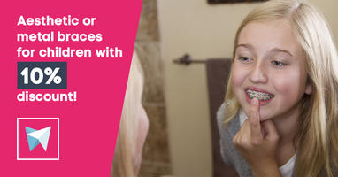 Aesthetic or metal braces for children with 10% discount!